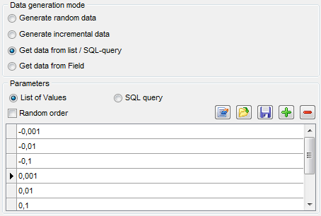 Float field parameters - Mode - List or query