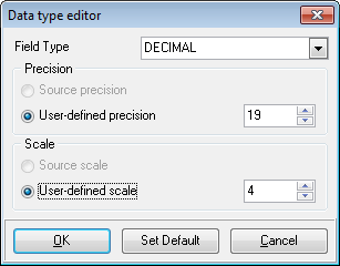 Step 4 - Setting options - Global type mapping - Data type editor