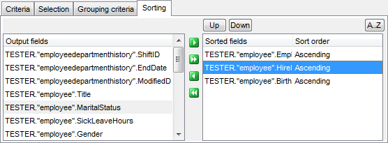 Query Builder - Setting sorting parameters