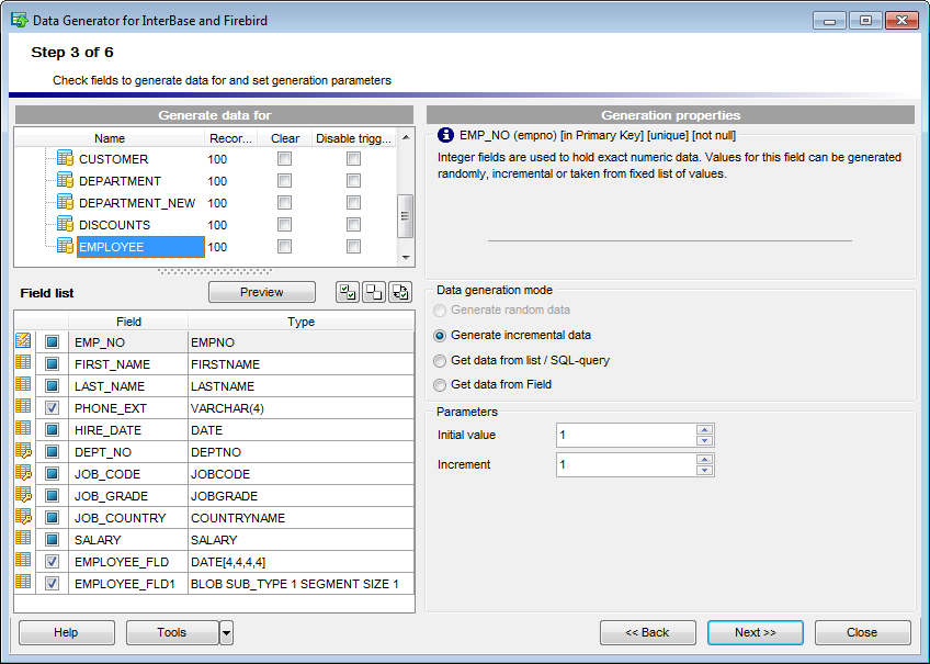Step 3 - Specifying generation parameters