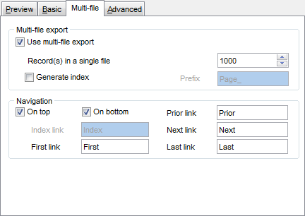 Export Data - Format-specific options - HTML - Multi-file
