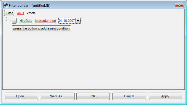 Filter Builder dialog - Setting filter criteria values