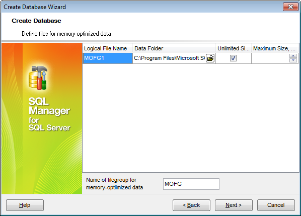Create Database wizard - Defining memory-optimized files