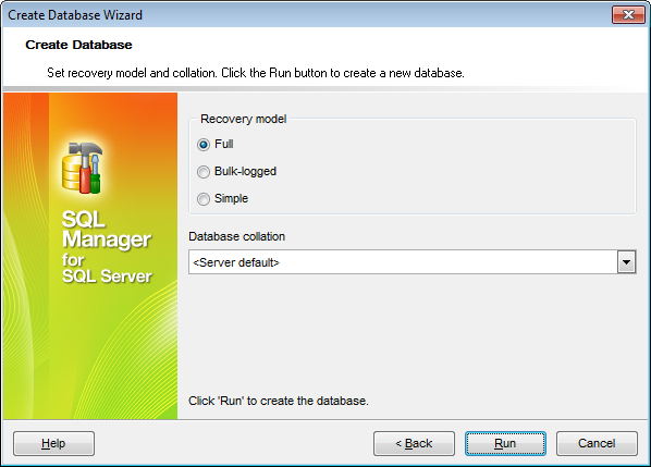 Create Database Wizard - Setting recovery model and collation