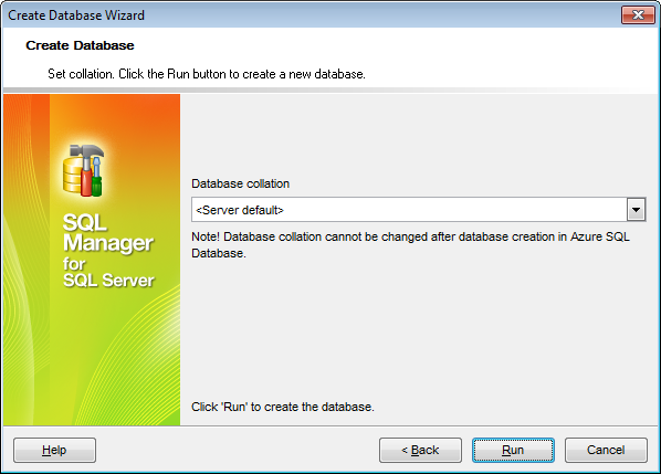 Create Database wizard - Setting SQL Azure Database collation
