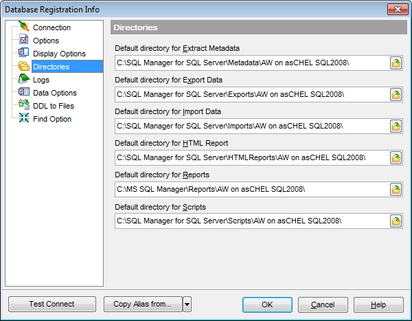 Database Registration Info - Setting default directories