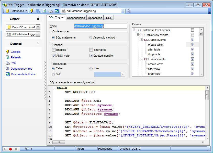 DDL Trigger Editor - Editing DDL trigger definition