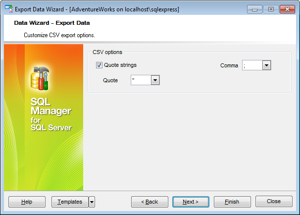 Export Data - Format-specific options - CSV
