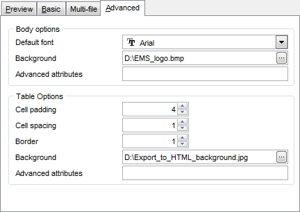 Export Data - Format-specific options - HTML - Advanced