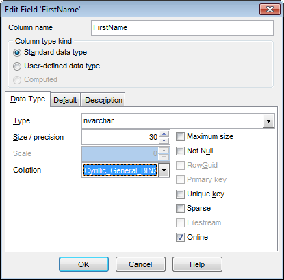 Field Editor - Setting field name and type - Standard