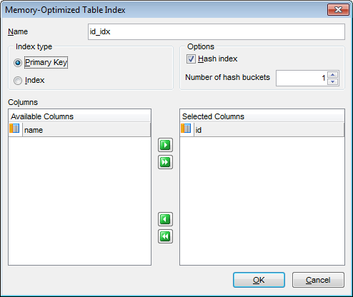 New table - Specifying memory-optimized table indices - Index Editor