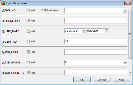 Procedure Editor - Specifying input parameters