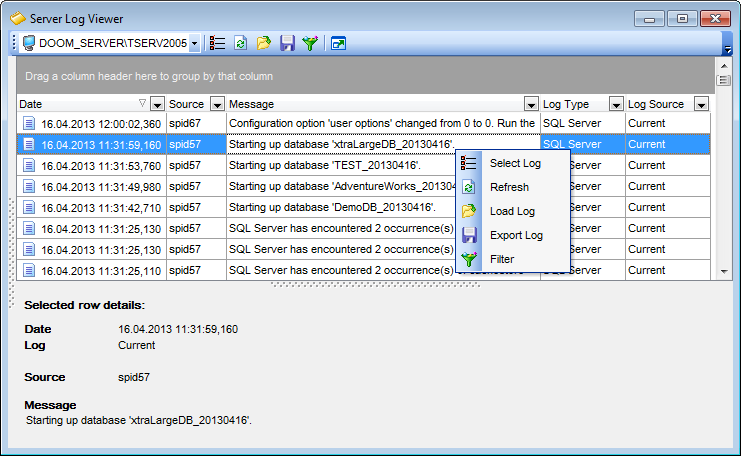Server Log Viewer - Working with Server Log Viewer