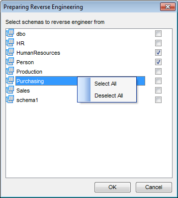 VDBD - Reverse engineering - Select schema