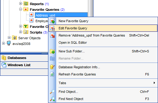 DB Explorer - Managing Favorite queries