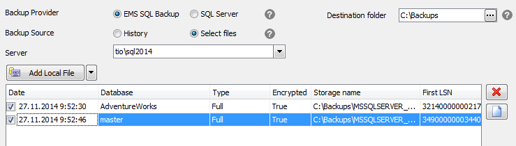 Get backup to console - Specifying backup files
