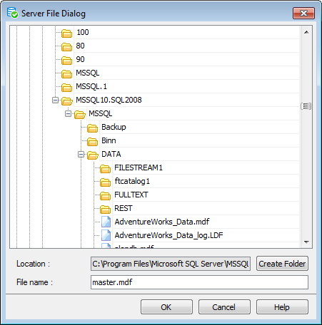 Restore Database Wizard - History - Specifying restore type - Selecting Files
