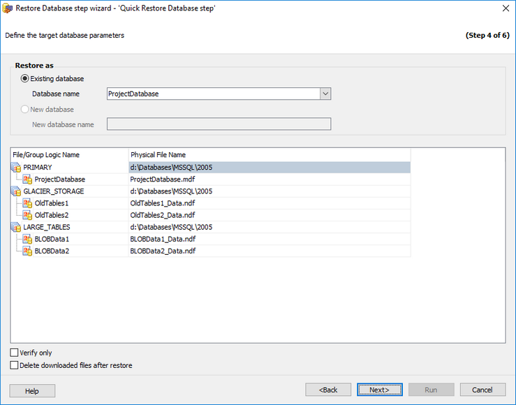Restore Database Wizard - History - Specifying restore type