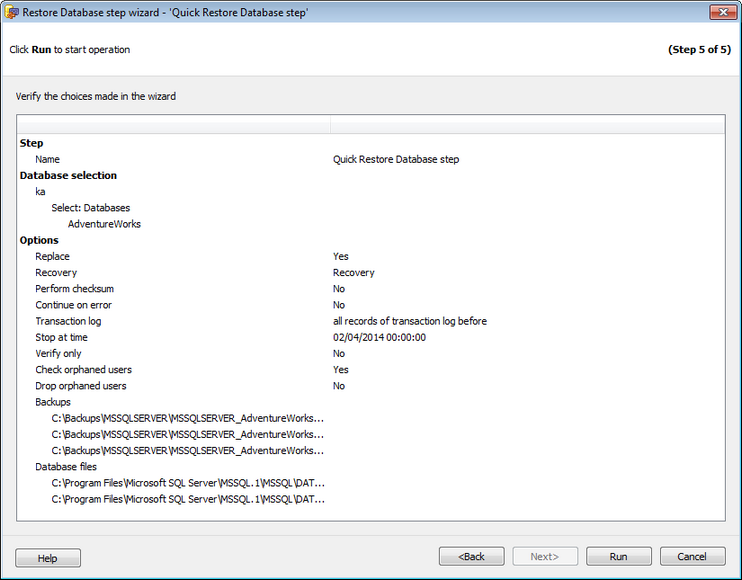 Restore Database Wizard SQL Angel restore - Performing operation