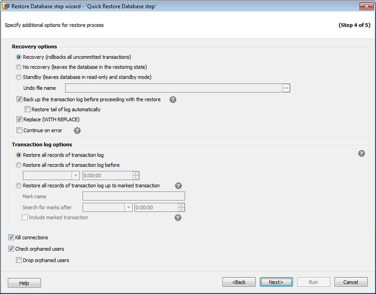 Restore Database Wizard_history_Specify other restore settings