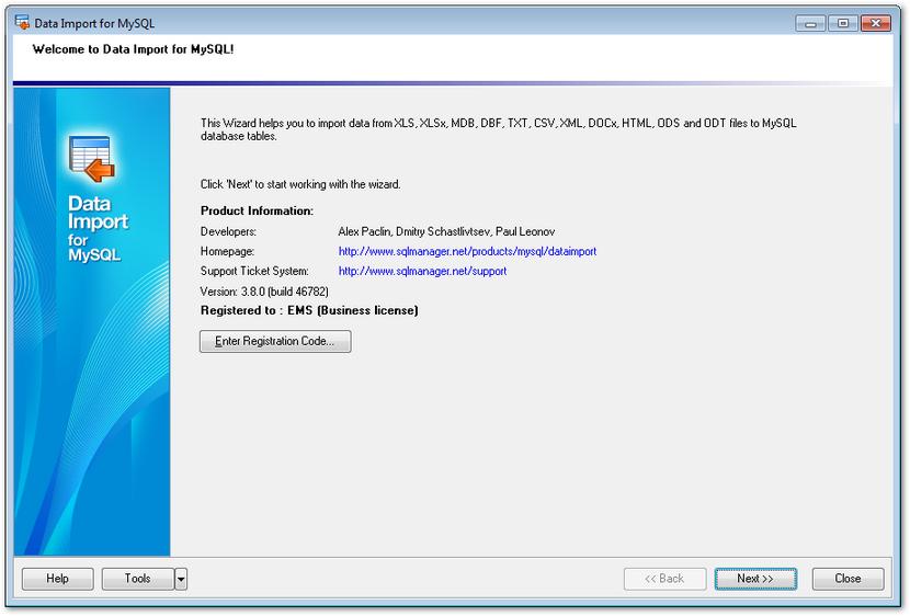 EMS SQL Manager - MySQL Tools - EMS Data Import for MySQL