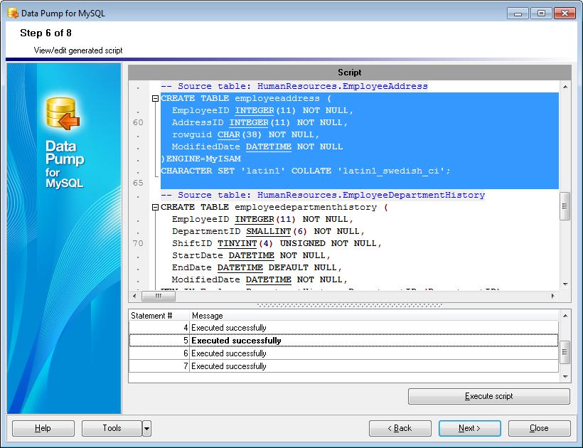 EMS SQL Manager - MySQL Tools - EMS Data Pump for MySQL