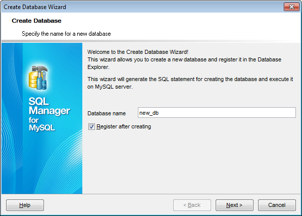 Create Database Wizard - Setting database name