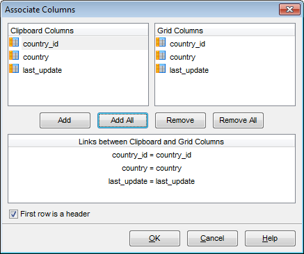 Data View - Grid View - Associate columns