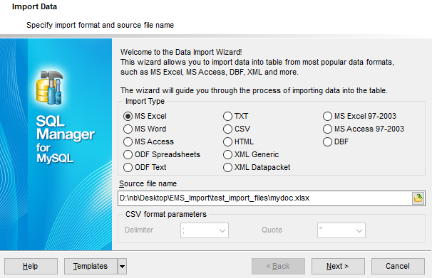 Import Data - Selecting source file name and format