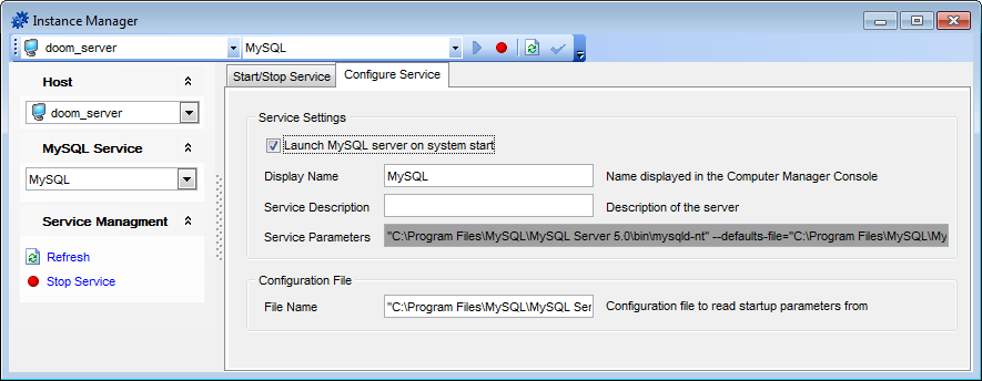 Instance Manager - Configure service