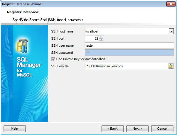 Register Database wizard - Setting connection parameters - SSH