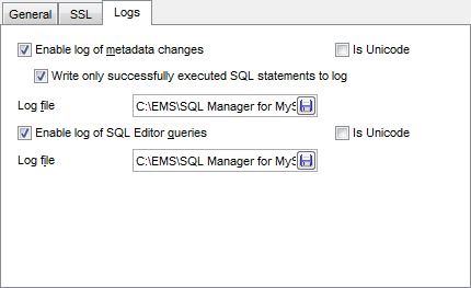 Register Database wizard - Setting specific options - Logs