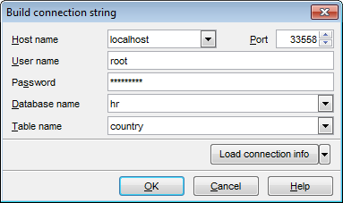 Table Properties - Setting federated table options - Build connection string