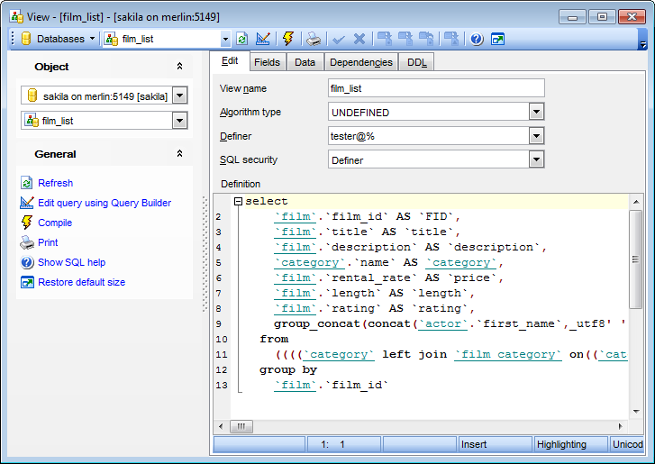 View Editor - Editing SQL definition