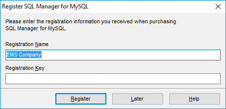 Welcome to SQL Manager - Register product