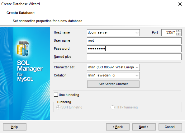 Create Database Wizard - Setting connection properties