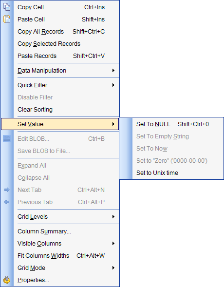Data View - Grid View - Using the context menu