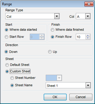 Import Data - Setting fields correspondence - Excel - Range