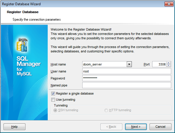 Register Database wizard - Setting connection parameters