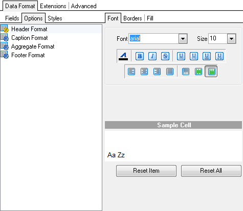 Format-specific options - MS Excel - Data format - Options