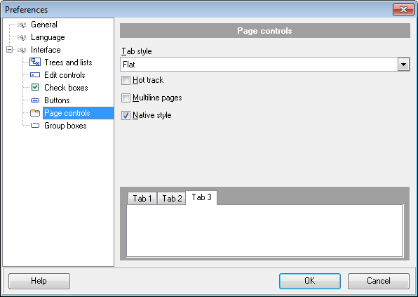 Preferences - Interface - Page controls
