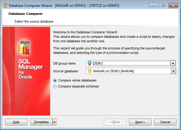 Database Comparer Wizard - Select the source database