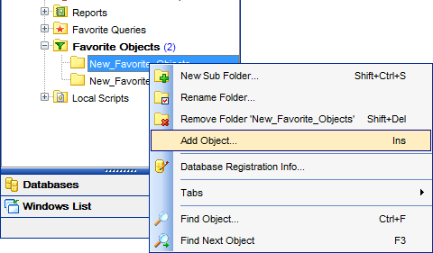 DB Explorer - Managing projects - Adding objects