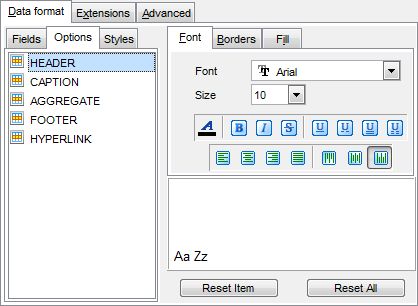 Export Data - Format-specific options - Excel - Data Format - Options