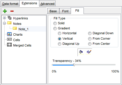 Export Data - Format-specific options - Excel - Extensions - Notes - Fill