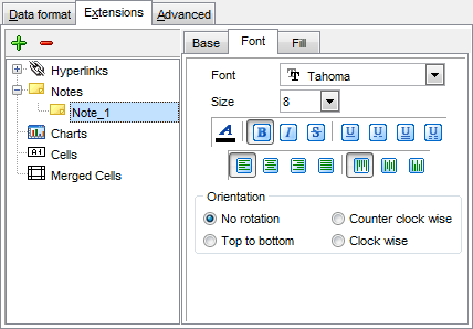 Export Data - Format-specific options - Excel - Extensions - Notes - Font