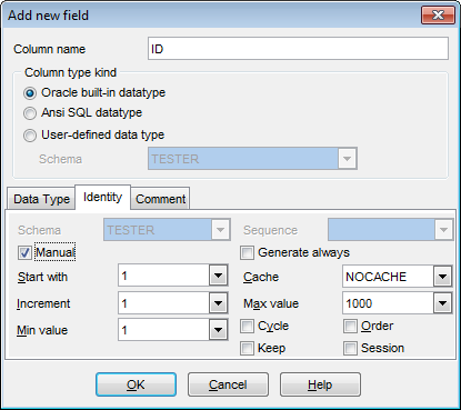 Field Editor - Setting autoincrement
