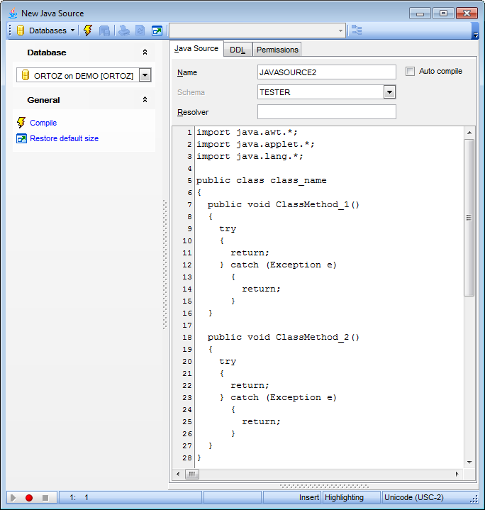 Java Source Editor - Editing Java Source definition