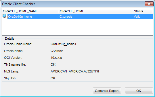 Oracle client checker