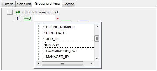 Query Builder - Setting grouping criteria